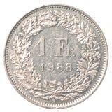 1 schweizisk franc mynt Arkivbild