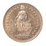 Schweizisk franc mynt Fotografering för Bildbyråer