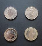 Schweizisk franc och euro Royaltyfria Bilder