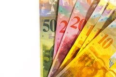 Schweizisk franc valuta med kopieringsutrymme Arkivfoto