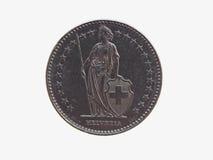 Schweizisk francCHF-mynt Arkivbilder