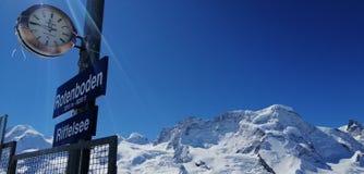 Schweizisk himmel från den Rotenboden stationen royaltyfria foton