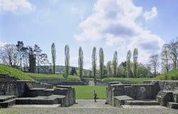 Schweizisk kanton Vindonissa Roman Amphitheater Windisch för Aargau rapport royaltyfri bild