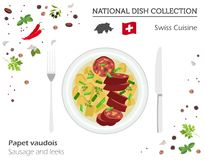 Schweizisk kokkonst Europeisk nationell maträttsamling Korv och le royaltyfri illustrationer