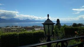 Schweizisk lemangeneva lausanne Schweiz sjö royaltyfri foto
