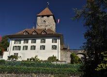 Schweizisk medeltida slott, Spiez Schweiz Royaltyfri Bild