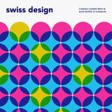 Schweizisk minimalistic affisch Retro färgrik abstrakt geometrisk konstverkräkning Arkivfoto