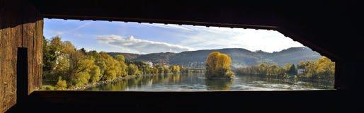 Schweizisk sidosikt från dåliga Sackingen Arkivbild