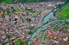 Schweizisk stad från över Royaltyfri Fotografi