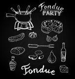 Schweizisk traditionell fondueingrediensuppsättning av ost, vinflaska, kruka, gurka, päron, bröd Den drog handen skissar i styl f Royaltyfri Bild