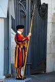 Schweizisk vakt med den trevliga enhetliga yttersidan i Vaticanen Arkivfoto