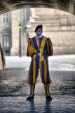 Schweizisk vakt med den trevliga enhetliga yttersidan i Vaticanen Arkivfoton