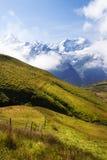 Schweiziska ängar och schweiziska berg Arkivfoton