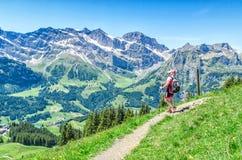 schweiziska alps Mannen med att gå klibbar på vandringsleden i fjällängarna Royaltyfria Foton