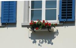 Schweiziska fönsterslutare med röda blommor Arkivbild