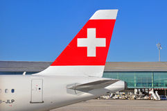 schweiziska flygplanflygbolag Royaltyfria Bilder
