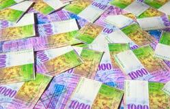 schweiziska francs arkivfoton