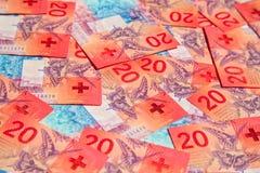 schweiziska francs arkivbilder
