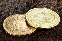Schweiziska guld- mynt 02 Arkivbilder