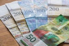Schweiziska pengar, höga valörer arkivbild