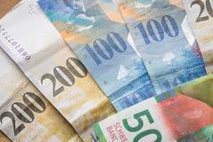 Schweiziska pengar, höga valörer fotografering för bildbyråer