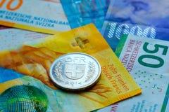 Schweiziska pengarsedlar och mynt Royaltyfri Fotografi