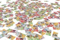 Schweiziska sedlar på vit bakgrund royaltyfri fotografi