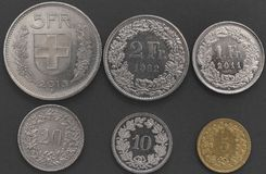 Schweiziska silvermynt arkivfoto