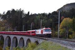 Schweiziskt drev som förbigår på en viadukt royaltyfri bild