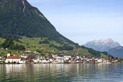 Schweiziskt fjällänglandskap och sjö Lucerne Royaltyfri Bild