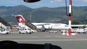 Schweiziskt flygbolagflygplan Royaltyfri Foto