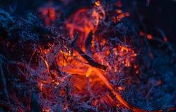 Schwelende Asche im Feuer Stockbild