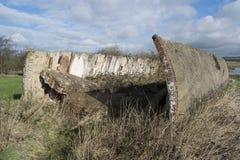 Schwere Flugabwehrbatterie Gunsite des Zweiten Weltkrieges Stockfotos