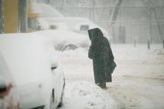 Schwere Schneefälle über Bukarest, Rumänien Lizenzfreies Stockfoto