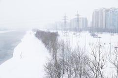 Schwere Schneefälle in den Straßen von Moskau Lizenzfreie Stockfotografie