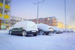 Schwere Schneefälle in Polen Stockfoto