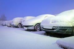 Schwere Schneefälle in Polen Stockfotos