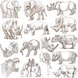 Schwere Tiere Hand gezeichneter Satz auf Weiß Freehands Stockbild