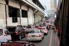 Schwere Verkehrsstockung Stockbild