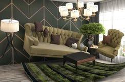 Schwerelosigkeits-Sofa, das im Wohnzimmer schwebt Abbildung 3D Stockbilder