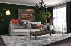 Schwerelosigkeits-Sofa, das im Wohnzimmer schwebt Abbildung 3D Lizenzfreie Stockfotografie
