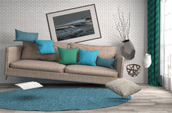 Schwerelosigkeits-Sofa, das im Wohnzimmer schwebt Abbildung 3D Stockfotografie