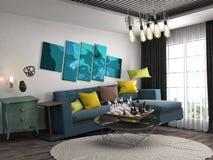 Schwerelosigkeits-Sofa, das im Wohnzimmer schwebt Abbildung 3D Lizenzfreie Stockfotos