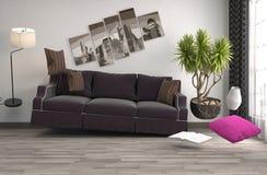 Schwerelosigkeits-Sofa, das im Wohnzimmer schwebt Abbildung 3D Stockbild