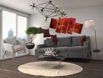 Schwerelosigkeits-Sofa, das im Wohnzimmer schwebt Abbildung 3D Lizenzfreie Stockbilder