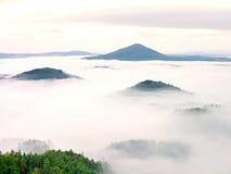 Schwerer Nebel in der Landschaft Sahniger Nebel des ausgezeichneten Herbstes Lizenzfreie Stockbilder