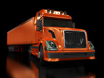 Schwerer roter LKW getrennt auf Schwarzem Lizenzfreies Stockfoto