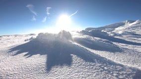 Schwerer Schneesturm mit starken Winden stock video