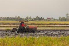 Schwerer Traktor während der Bearbeitungslandwirtschaftsarbeiten Stockfotos