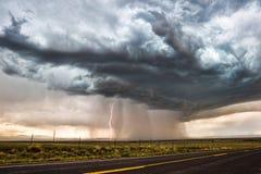Schweres Gewitter mit Blitz Stockfotos
